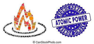 icône, puissance, atomique, mosaïque, emplacement, brûler, textured, cachet