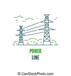icône, puissance, style, fourniture, électricité, design., ligne fixe