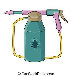 icône, pulvérisation, insecticide, style, dessin animé