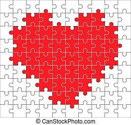 icône, puzzle, coeur, fait, vecteur, morceaux, simple
