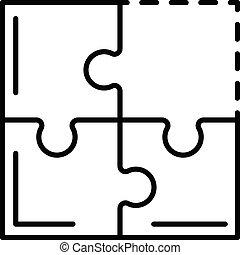 icône, puzzle, collaboration, style, contour