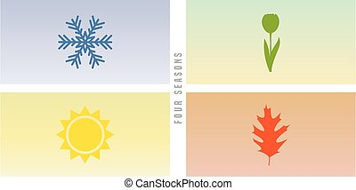 icône, quatre, hiver, printemps, été, saisons, automne