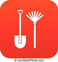 icône, râteau, pelle, rouges, numérique
