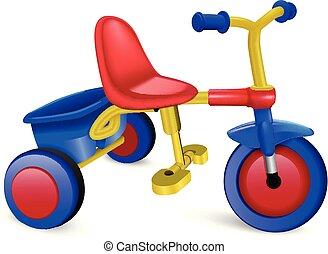 icône, réaliste, style, tricycle