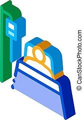 icône, réanimation, vecteur, patient, isométrique, illustration