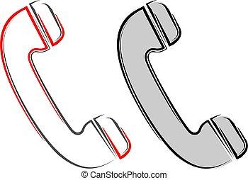 icône, récepteur, téléphone