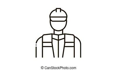 icône, réparateur, animation, ouvrier