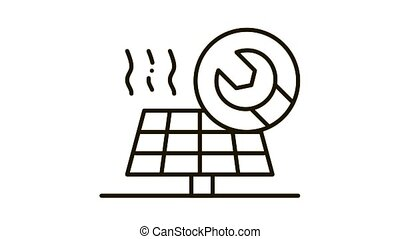 icône, réparation, solaire, animation