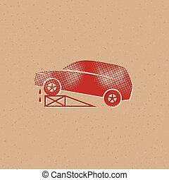 icône, réparations, -, halftone, voiture