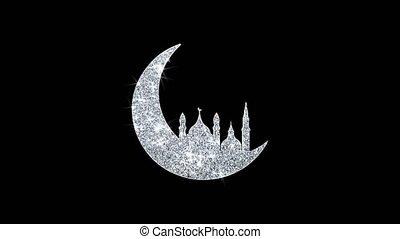icône, ramadan, particules, islamique, mosquée, scintillement, lune, boucle, briller, clignotant