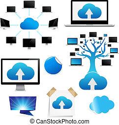 icône, rappel, ensemble, nuage, calculer