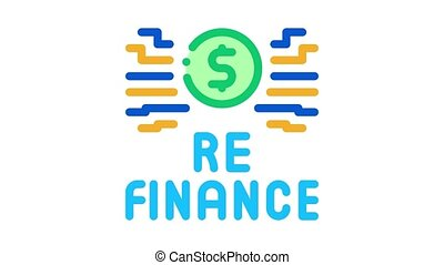 icône, refinancing, animation, signe
