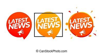icône, report., ou, bannière, journal, quotidiennement, concept, nouvelles, rupture, dernier, rapport