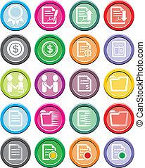 icône, rond, business, ensembles