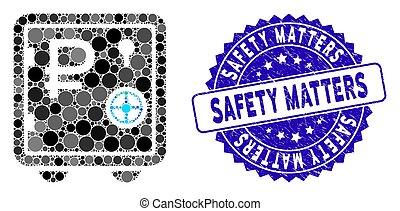 icône, sécurité, mosaïque, banque, rouble, sûr, compter, gratté, cachet