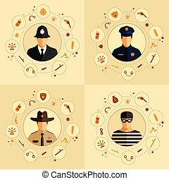 icône, sécurité, police