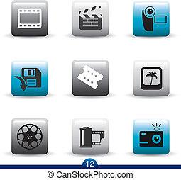 icône, série, 12, -, pellicule, et, film