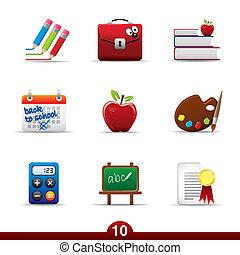 icône, série, -, education