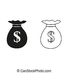 icône, sac argent, vecteur, -, vert
