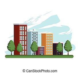 icône, scène, cityscape, bâtiments, urbain
