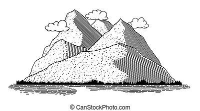 icône, scène, montagne