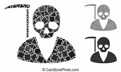 icône, scytheman, éléments, brusque, composition