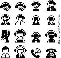 icône, service, client