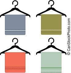 icône, serviette, cintre