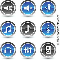 icône, set., audio