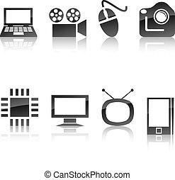 icône, set., multimédia