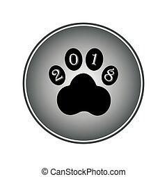 icône, signe, patte, chien