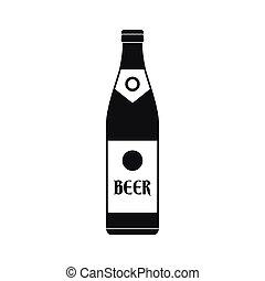 icône, simple, bière, style, bouteille