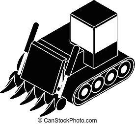 icône, simple, bulldozer, construction, style