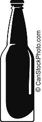 icône, simple, fermé, bouteille, style.