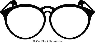 icône, simple, lunettes, style., plastique