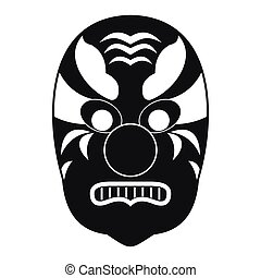 icône, simple, masque tribal, style
