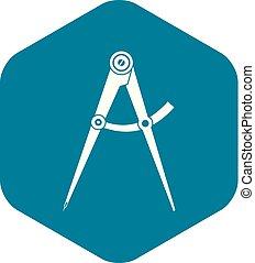 icône, simple, outillage, style, compas
