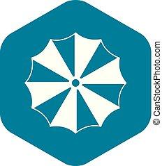 icône, simple, parapluie rayé, style