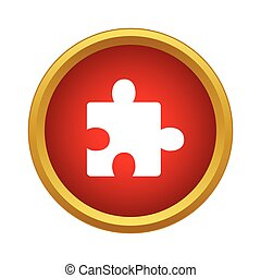 icône, simple, puzzle, style, une