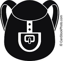 icône, simple, sac à dos, camp, style