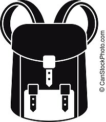 icône, simple, sac à dos, chasseur, style