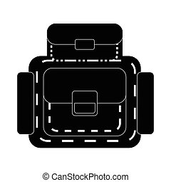icône, simple, sac à dos, style