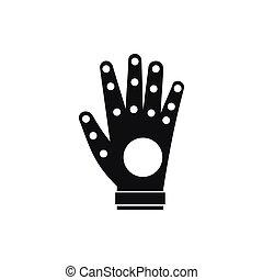 icône, simple, style, électronique, gant