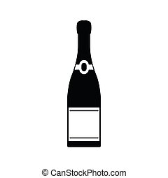icône, simple, style, bouteille champagne