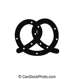 icône, simple, style, bretzel