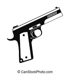 icône, simple, style, canon noir