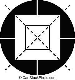 icône, simple, style, cible, fusil