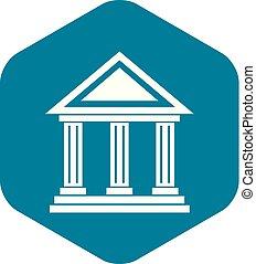 icône, simple, style, colonnade