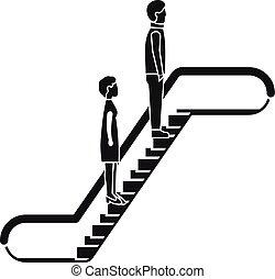 icône, simple, style, escalator, gens
