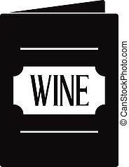 icône, simple, style, liste, vin